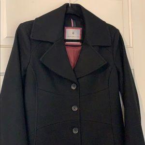 Tommy Hilfiger black wool-blend coat